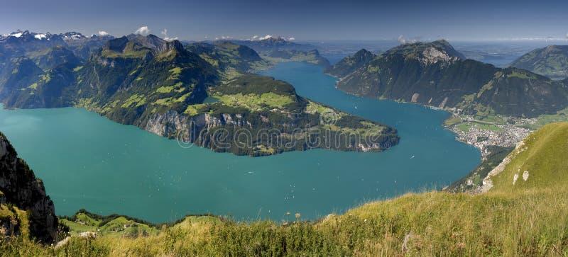 Vierwaldstättersee - Lake in Switzerland. Vierwaldstättersee - Beautiful Lake in Switzerland Panoramic view from Fronalpstock in Swiss Canton - Schwyz royalty free stock photography
