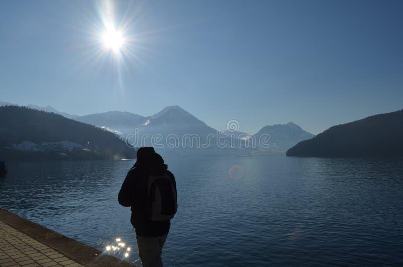 Vierwaldstattersee sjö Lucerne fotografering för bildbyråer