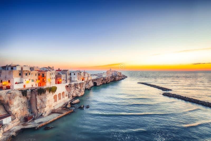 Vieste - beautiful coastal town on the rocks in Puglia stock image