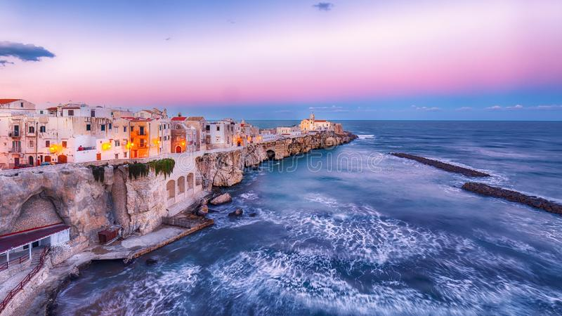 Vieste - beautiful coastal town on the rocks in Puglia royalty free stock images
