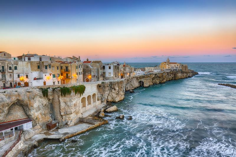 Vieste - beautiful coastal town on the rocks in Puglia royalty free stock photos