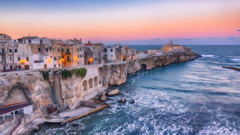 Vieste - beautiful coastal town on the rocks in Puglia stock photos