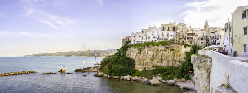 Vieste de Adriatische van overzeese panoramische klip van Italië garganoapulia stock foto