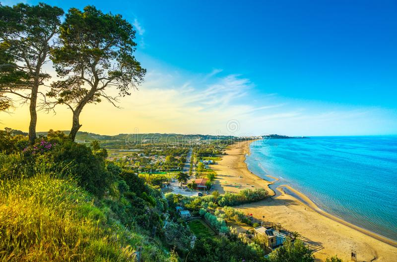 Vieste and Pizzomunno beach view, Gargano, Apulia, Italy. Vieste and Pizzomunno beach view, Gargano peninsula, Apulia, southern Italy, Europe stock photography