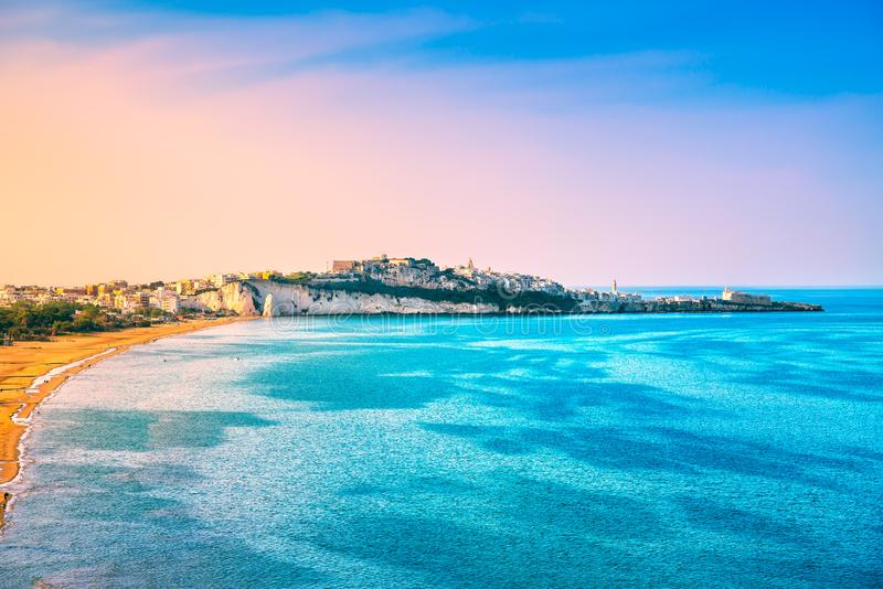 Vieste and Pizzomunno beach view, Gargano, Apulia, Italy. Vieste and Pizzomunno beach view, Gargano peninsula, Apulia, southern Italy, Europe stock images
