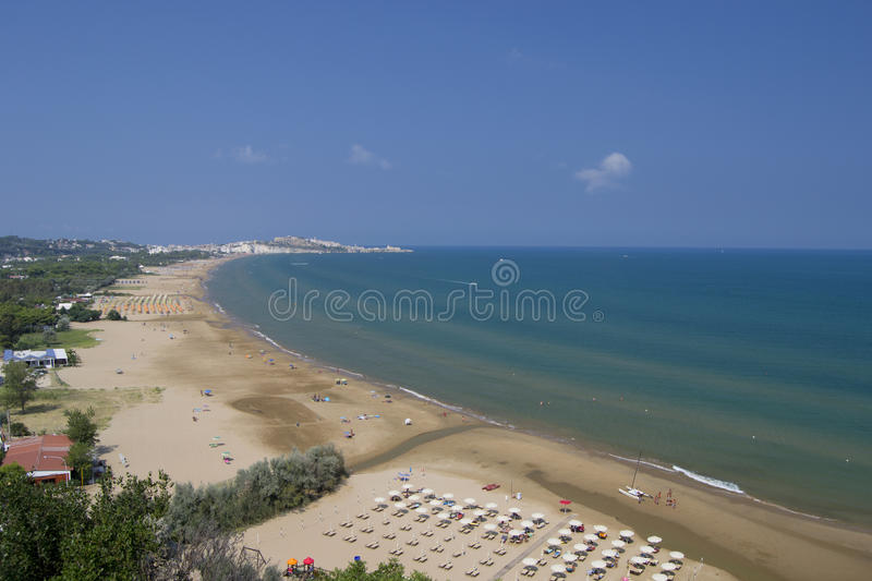 Vieste, Gargano, Apulia, Italy: promontory and beaches from panoramic point in summer stock photo