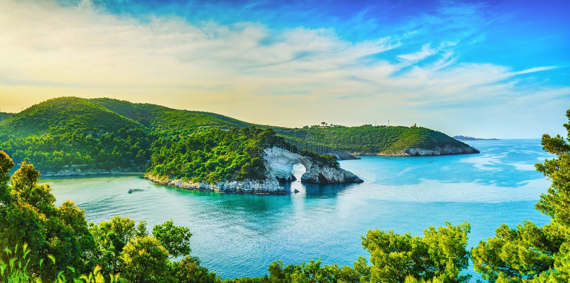 Vieste, San Felice arch rock bay, Gargano, Apulia, Italy. Vieste, San Felice arch rock bay, Gargano peninsula, Apulia, southern Italy, Europe stock image