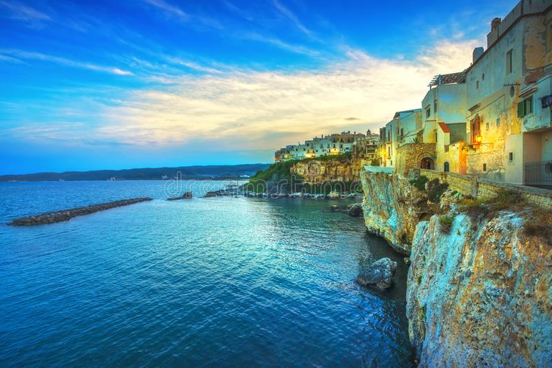 Vieste town on the rocks, Gargano, Apulia, Italy. Vieste town on the rocks, Gargano peninsula, Apulia, southern Italy, Europe royalty free stock images