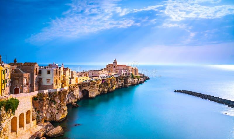 Vieste town on the rocks, Gargano, Apulia, Italy. Vieste town on the rocks, Gargano peninsula, Apulia, southern Italy, Europe stock photo