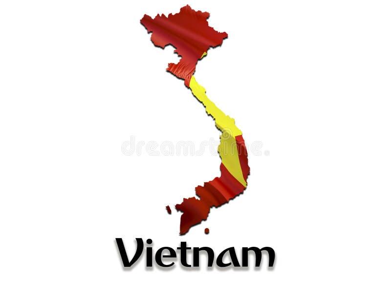 Vietnam översiktsflagga 3D som framför den Vietnam översikten och flaggan på den Asien översikten Det nationella symbolet av Viet vektor illustrationer