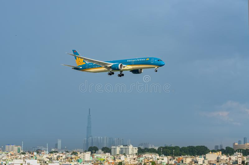 Vietnam airline boeing 787 landing at Tan Son Nhat International Airport. Ho Chi Minh City, Vietnam - July 31th, 2018: Vietnam airline boeing 787 landing at Tan royalty free stock photography