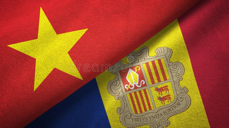 Vietnam and Andorra two flags textile cloth, fabric texture. Vietnam and Andorra two folded flags together royalty free illustration