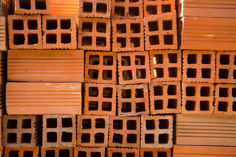 vietnam Buntar av tegelstenar på konstruktionsplatsen royaltyfri fotografi