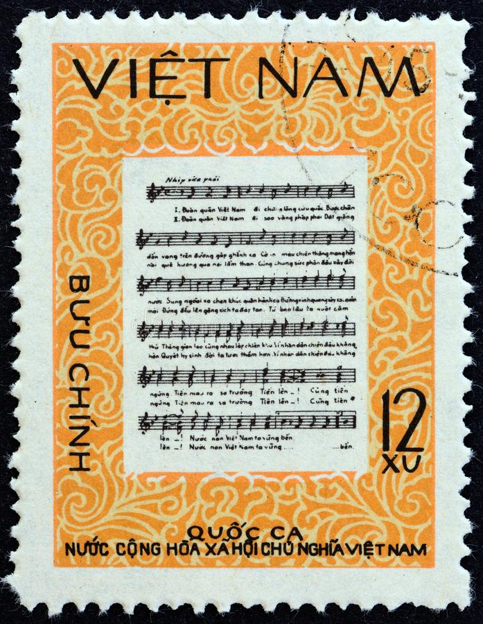 VIETNAM - CIRCA 1980: A stamp printed in North Vietnam shows National Anthem, circa 1980. VIETNAM - CIRCA 1980: A stamp printed in North Vietnam shows National royalty free stock images