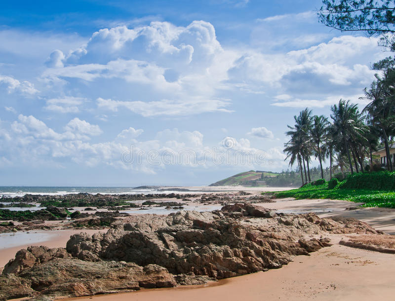 Vietnam Coast. The Coastline of Southern Vietnam, with mountains and palm trees stock image