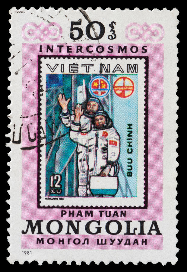 Vietnam Cosmonauts. A stamp printed in Mongolia showing stamp with Vietnam Cosmonauts royalty free stock images