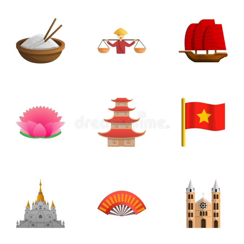 Vietnam country icon set, cartoon style stock illustration