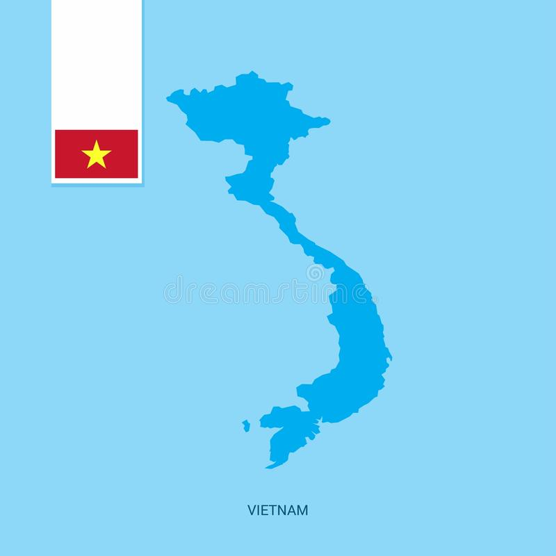 Vietnam Country Map with Flag over Blue background royalty free illustration