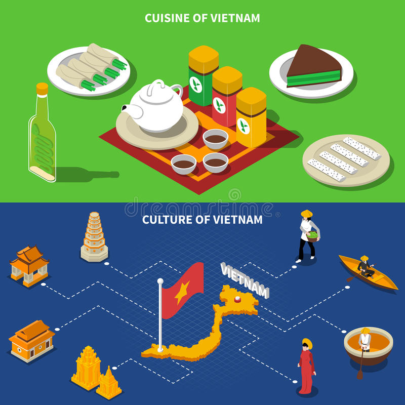 Vietnam Culture Touristic Isometric 2 Banners. Vietnam cuisine culture and touristic places of interest 2 isometric banners with country map vector illustration vector illustration