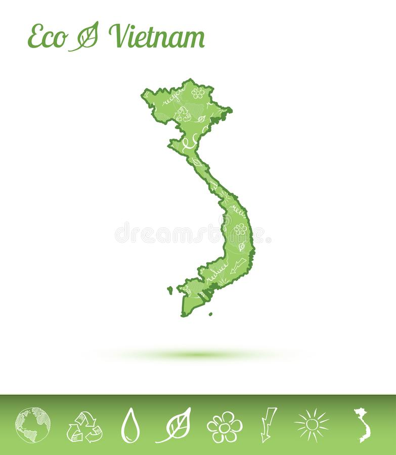 Vietnam eco map filled with green pattern. vector illustration