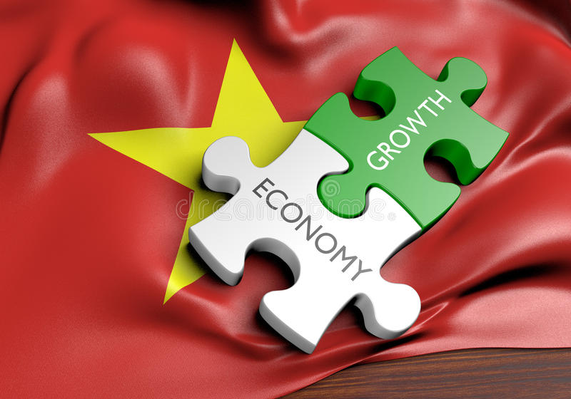 Vietnam economy and financial market growth. 3D rendered concept of Vietnam`s economy and financial market growth stock illustration