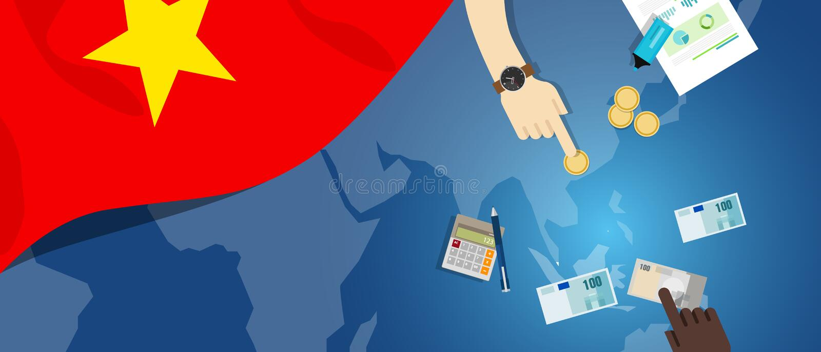 Vietnam economy fiscal money trade concept illustration of financial banking budget with flag map and currency. Vector royalty free illustration