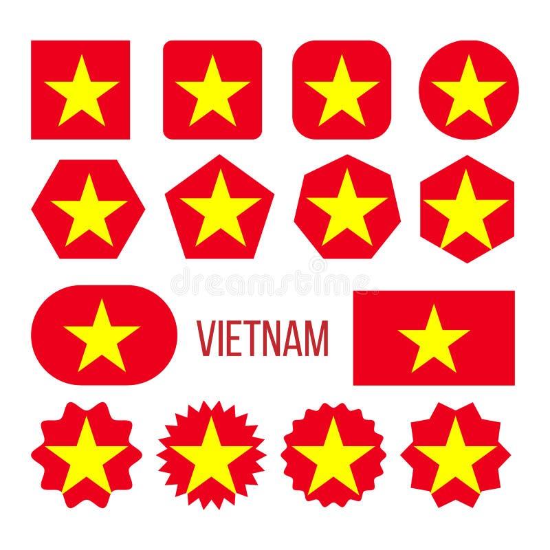 Vietnam Flag Collection Figure Icons Set Vector vector illustration