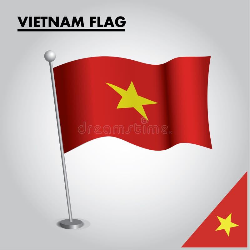 VIETNAM flag National flag of VIETNAM on a pole stock illustration