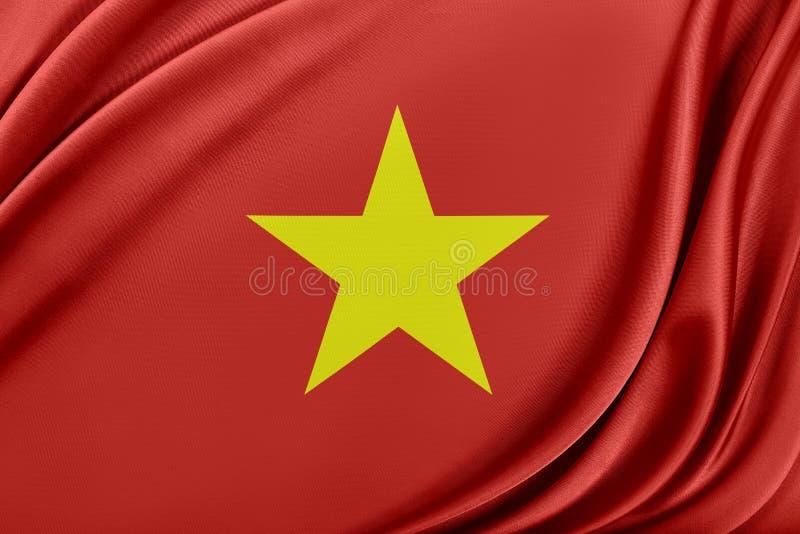 Vietnam flagga med en glansig siden- textur vektor illustrationer