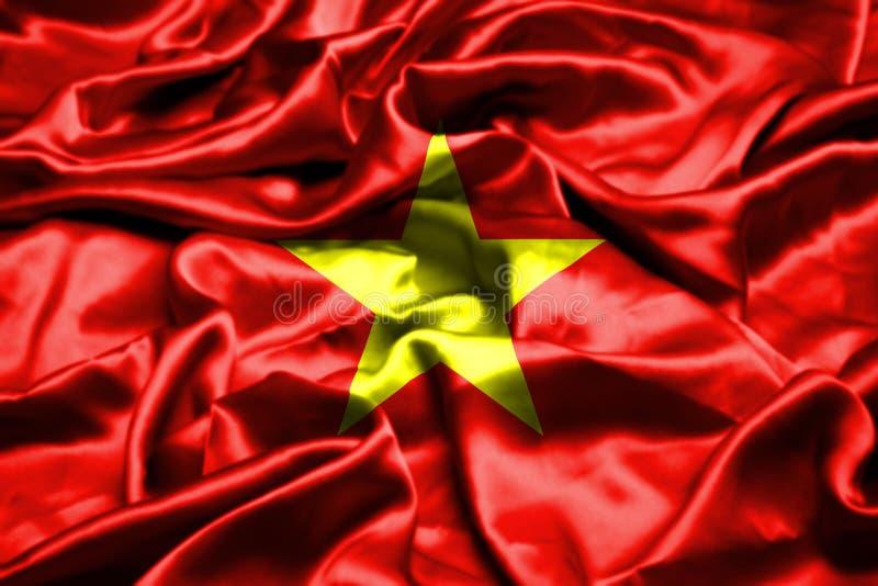 Vietnam flagga som vinkar i vinden vektor illustrationer
