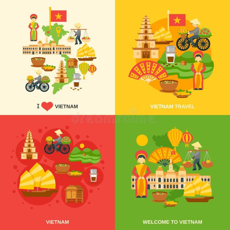 Vietnam Flat Set. Vietnam design concept set with asia travel flat icons isolated vector illustration stock illustration
