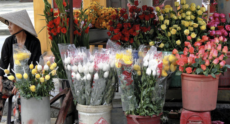 Vietnam flower Market royalty free stock images