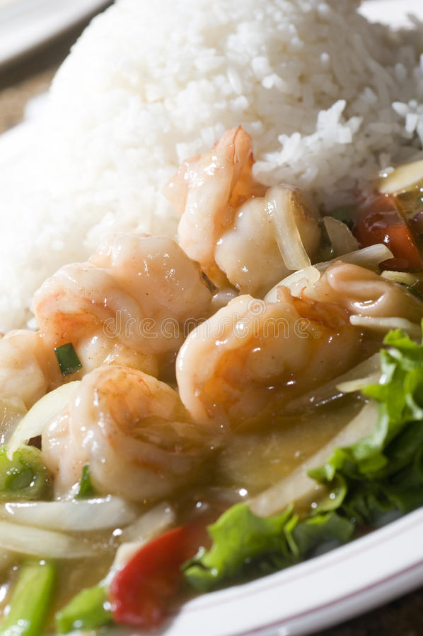 Vietnam food prawn sauteed in ginger honey sauce royalty free stock photography