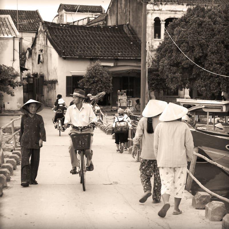 Vietnam gatalivstid Hanoi arkivfoto