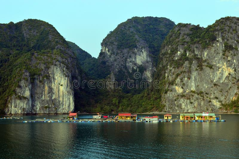 Vietnam - Ha Long Bay -large fish farm royalty free stock photography