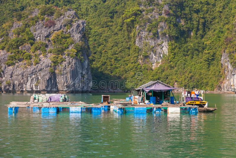 Vietnam, Ha Long Bay typical living platform of floating village stock photos