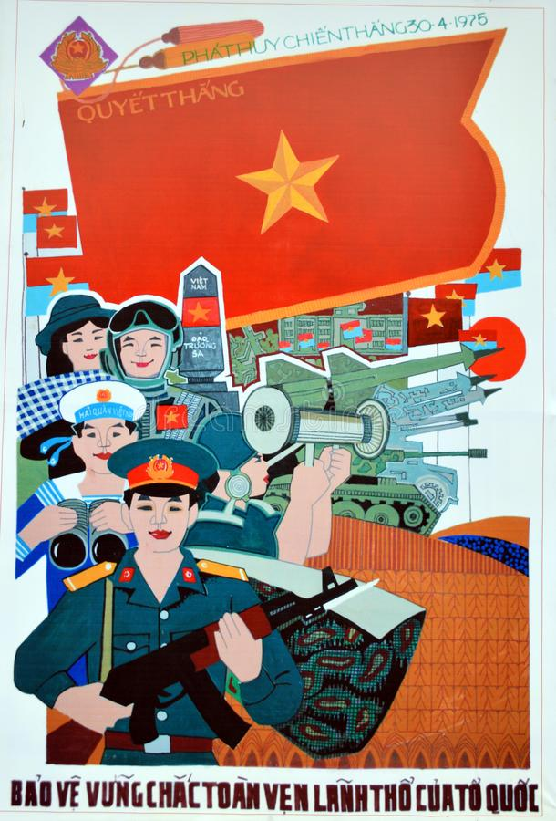 Vietnam - Hanoi - Colourful Poster at Military Museum in Ba Dinh District. Vietnam - Hanoi - Poster at Military Museum commemorating 40 years since the end of stock photos