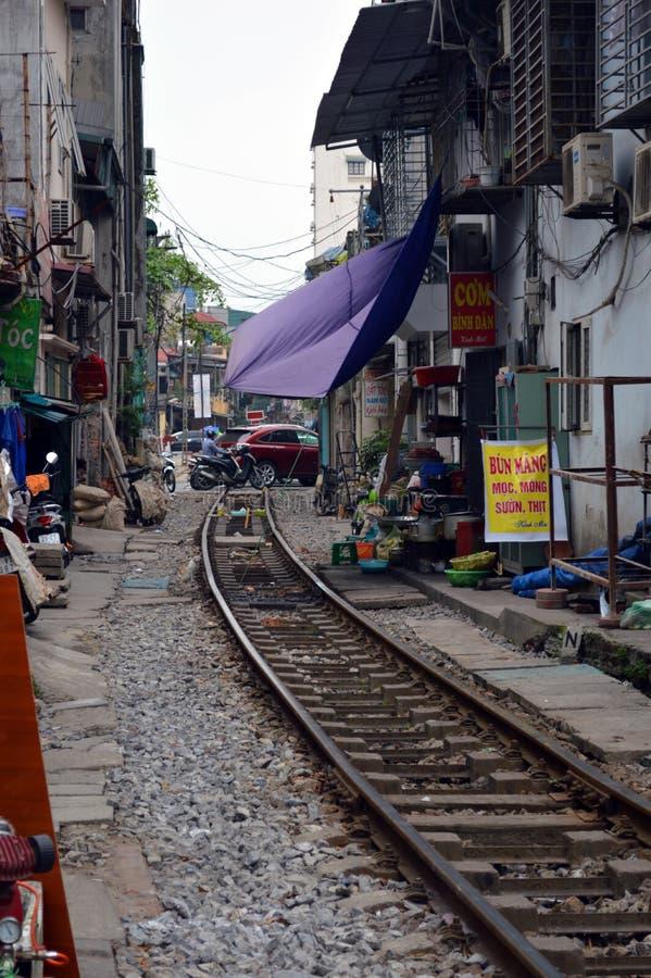 Vietnam - Hanoi - The Old Quarter - The Hanoi Street Train Tracks stock photos