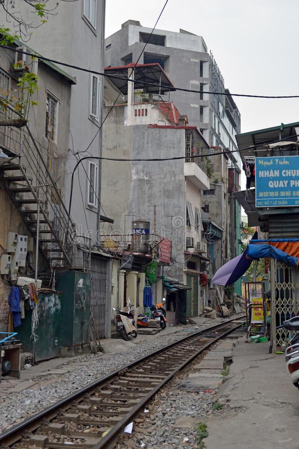Vietnam - Hanoi - The Old Quarter - The Hanoi Street Train Tracks stock photography