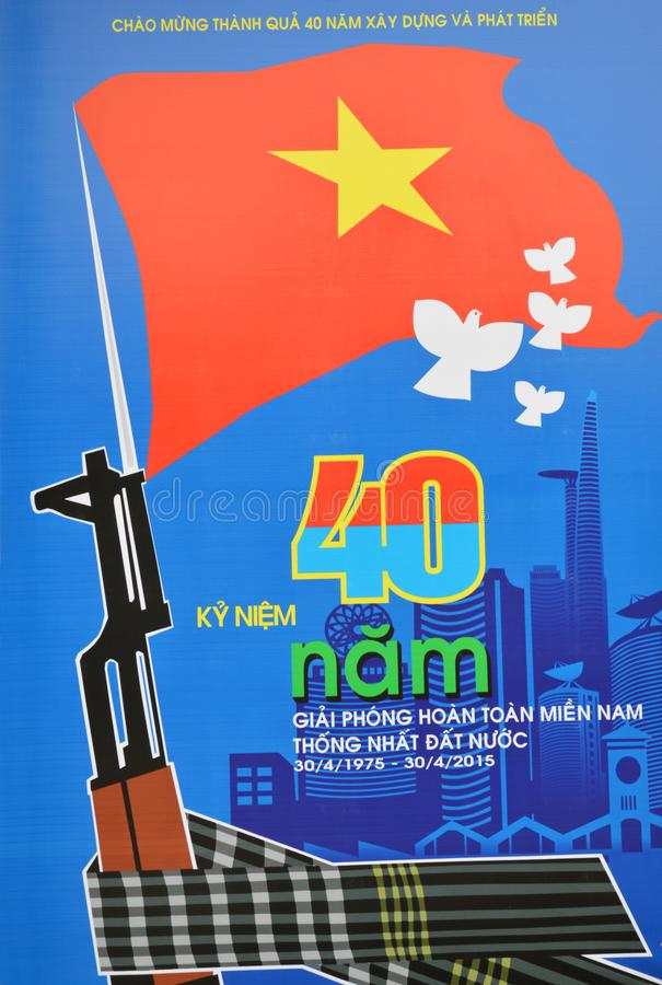 Vietnam - Hanoi - Plakat am Militärmuseum im Ba Dinh District stockfotos