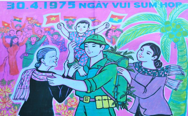Vietnam - Hanoi - Pink Poster at Military Museum in Ba Dinh District. Vietnam - Hanoi - Poster at Military Museum commemorating 40 years since the end of the royalty free stock photography