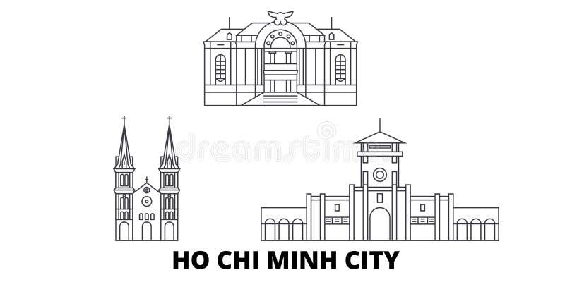 Vietnam, Ho Chi Minh City-Linie Reiseskylinesatz Vietnam, Ho Chi Minh City-Entwurfsstadt-Vektorillustration, Symbol lizenzfreie abbildung