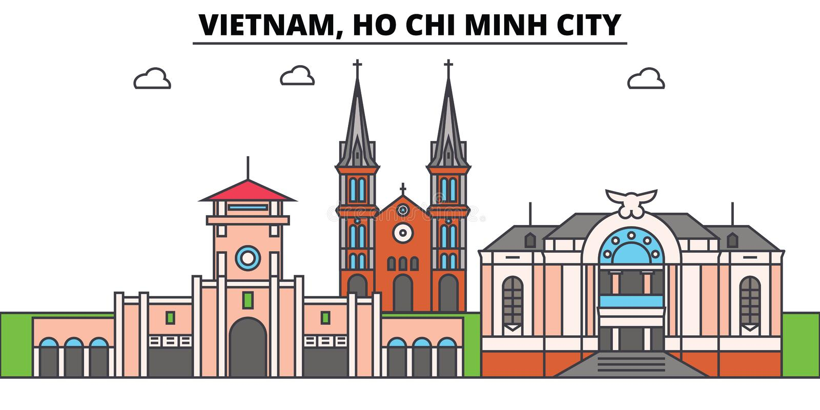 Vietnam, Ho Chi Minh City outline skyline, vietnamese flat thin line icons, landmarks, illustrations. Vietnam, Ho Chi. Minh City cityscape, vietnamese vector stock illustration