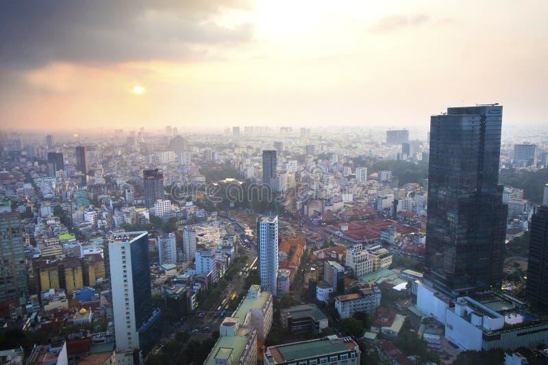 Vietnam Ho Chi Minh - December 12, 2017 - sikt av den Ho Chi Minh staden uppifrån royaltyfria bilder