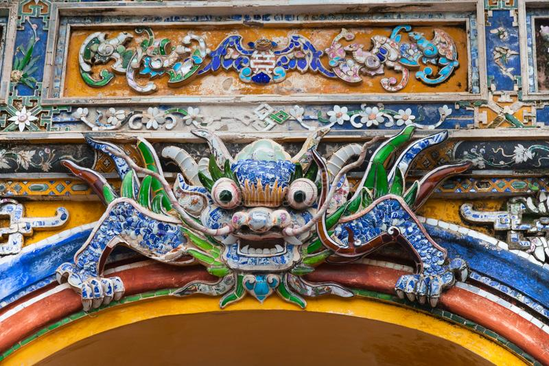 Vietnam, Hue. Dragon decoration at Imperial City royalty free stock images