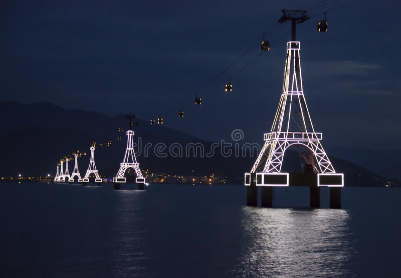 Cable car across the sea royalty free stock images