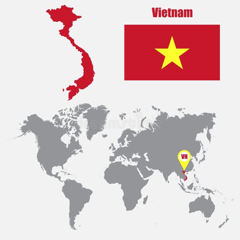 Vietnam-Karte auf einer Weltkarte mit Flaggen- und Kartenzeiger Auch im corel abgehobenen Betrag vektor abbildung