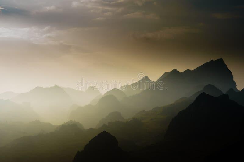 Vietnam landscape: Sun shines on the mountain at ha giang, viet nam. At Van stone-plateau, Ha giang, Viet nam royalty free stock photos