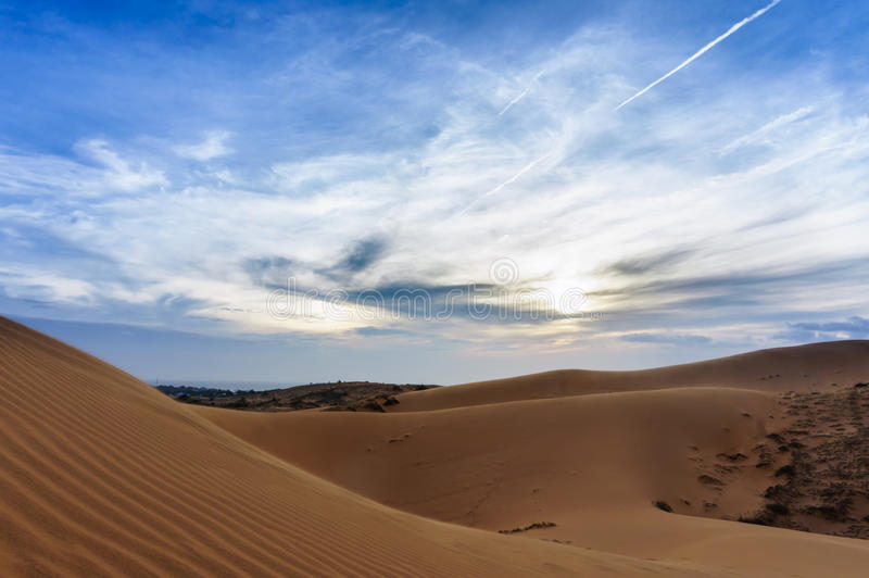 Vietnam lanscape: Sand dunes in Mui ne, Phan thiet, Viet Nam. Sand dunes with different of sand colour near by the sea at Mui Ne, Phan Thiet, Viet Nam royalty free stock photography