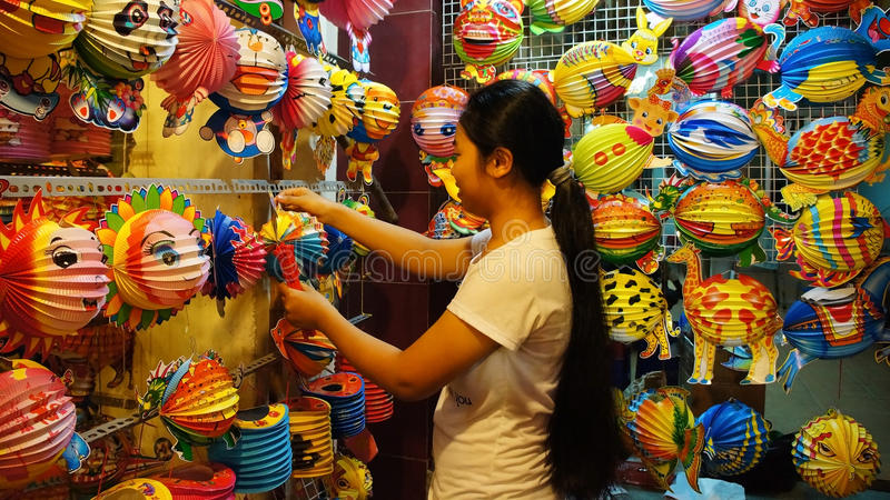 Vietnam lantern street, open air market royalty free stock photos